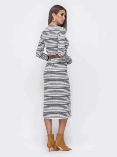 Серое платье-миди из ангоры в полоску 40520, фото 2