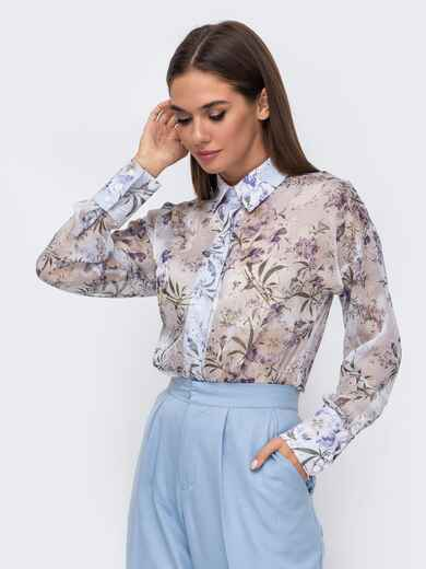 Шифоновая блузка с принтом и супатной застежкой голубая 51160, фото 1