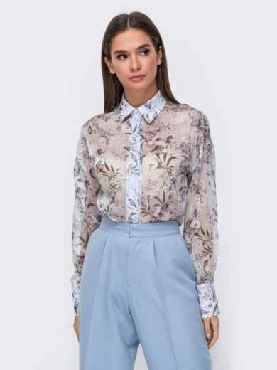 Шифоновая блузка с принтом и супатной застежкой голубая 51160, фото 2