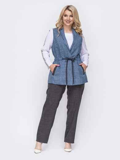 Синий комплект-тройка большого размера из жилета и брюк 49990, фото 1