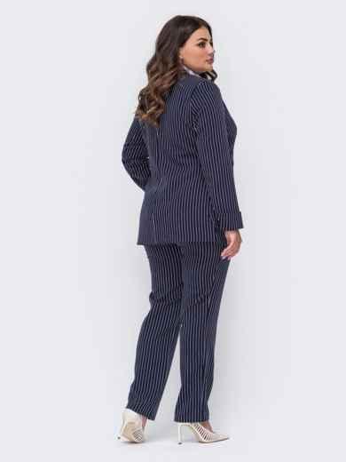 Темно-синий комплект большого размера в полоску из жакета и брюк 50936, фото 2
