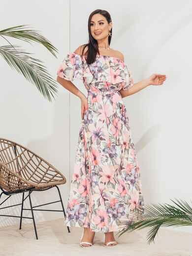 Платье батал с принтом и открытыми плечами розовое 46361, фото 1