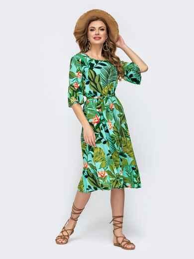 Принтованное платье с воланом расклешенного кроя бирюзовое 46951, фото 1