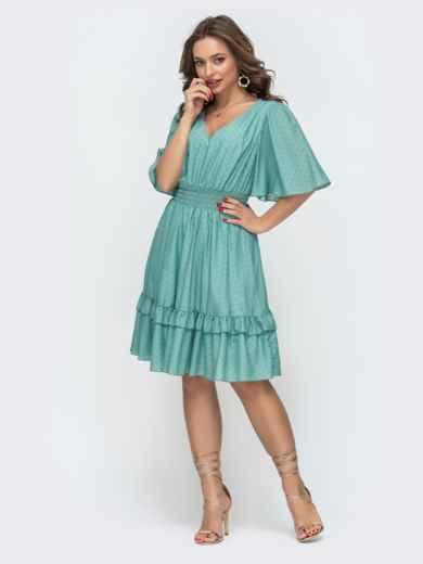 Приталенное платье из шифона бирюзовое 46874, фото 2