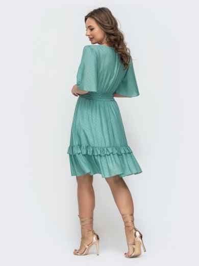Приталенное платье из шифона бирюзовое 46874, фото 3