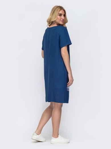 Тёмно-синее платье батал приталенного кроя с принтом 49062, фото 2