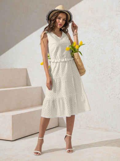 Платье из прошвы молочного цвета с многоярусной юбкой 50151, фото 2