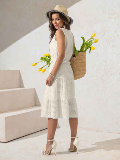 Платье из прошвы молочного цвета с многоярусной юбкой 50151, фото 3