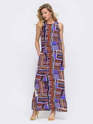 Свободное платье-макси с принтом фиолетовое 46809, фото 1