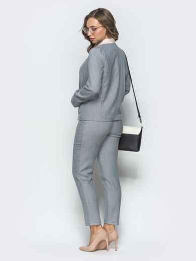 Серый комплект из жакета и укороченных брюк 39661, фото 3