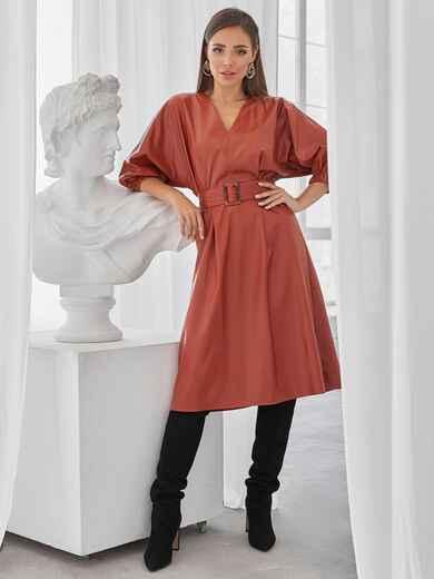 """Терракотовое платье из искусственной кожи с рукавом """"летучая мышь"""" 50138, фото 1"""