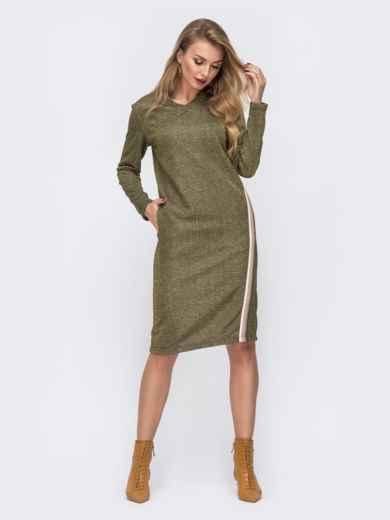 Платье из трёхнитки с карманами по бокам хаки 42965, фото 2