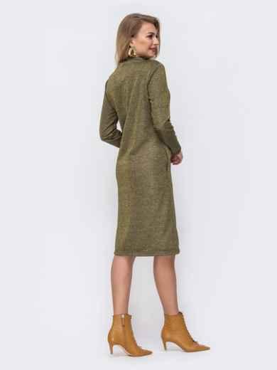 Платье из трёхнитки с карманами по бокам хаки 42965, фото 3