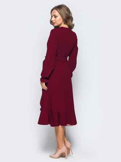 Платье с запахом бордового цвета из креп-дайвинга 16501, фото 2