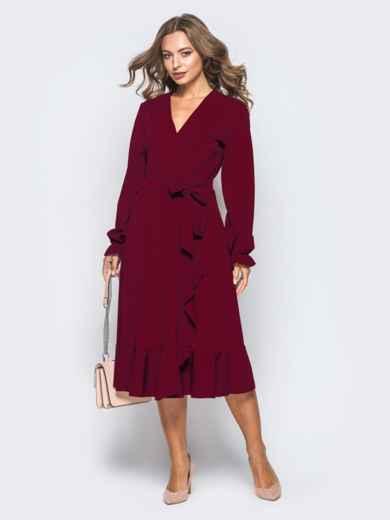 Платье с запахом бордового цвета из креп-дайвинга 16501, фото 3