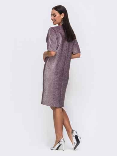 Розовое платье батал прямого кроя с люрексом 51590, фото 2