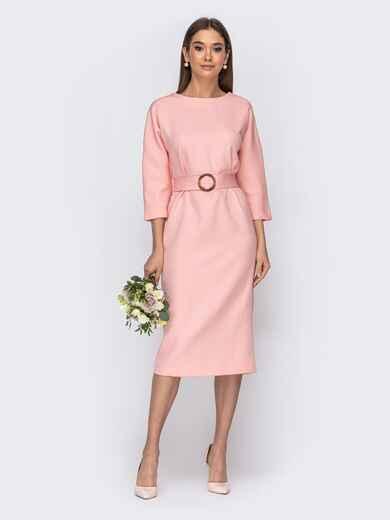 Розовое платье-миди с цельнокроеным рукавом 44837, фото 1