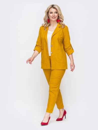 Желтый комплект большого размера из жакета и брюк 49837, фото 1