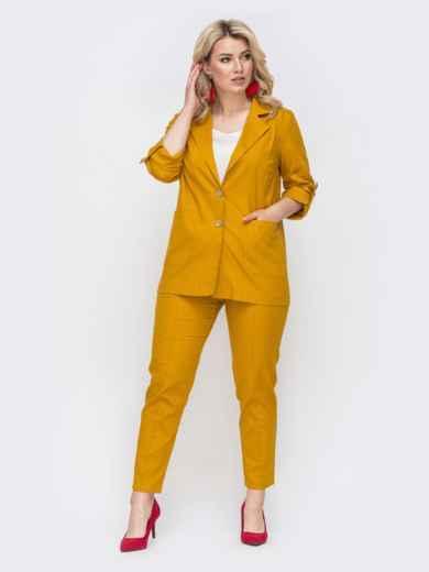 Желтый комплект большого размера из жакета и брюк 49837, фото 2