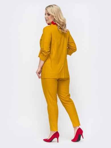 Желтый комплект большого размера из жакета и брюк 49837, фото 3