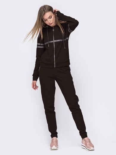 Чёрный костюм из кофты с капюшоном и брюк 49305, фото 1