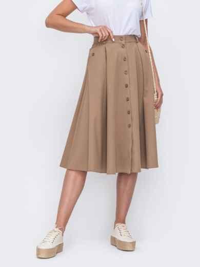 Расклешенная юбка бежевого цвета со шлевками 49447, фото 2