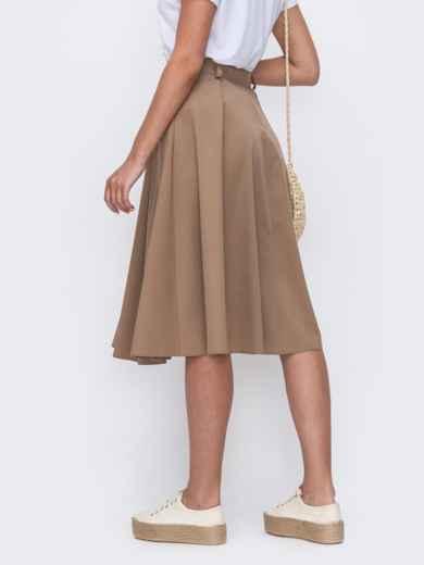 Расклешенная юбка бежевого цвета со шлевками 49447, фото 3