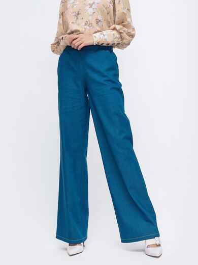 Синие брюки-клеш с резинкой по талии 45826, фото 1