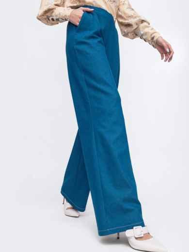 Синие брюки-клеш с резинкой по талии 45826, фото 2