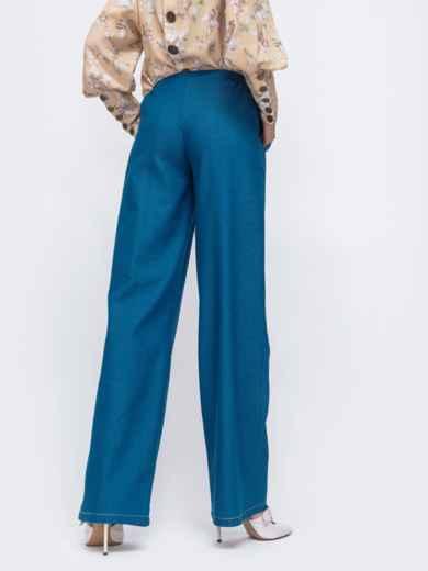 Синие брюки-клеш с резинкой по талии 45826, фото 3