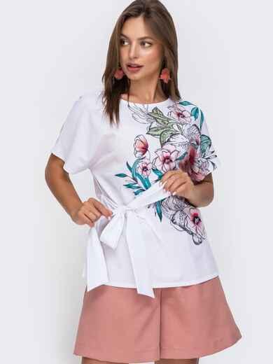 Белая блузка с цветочным принтом и разрезами по бокам 49133, фото 1