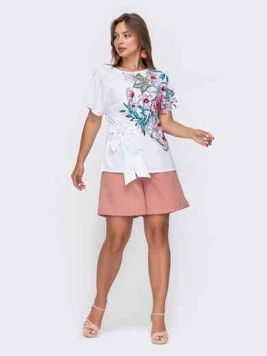 Белая блузка с цветочным принтом и разрезами по бокам 49133, фото 2