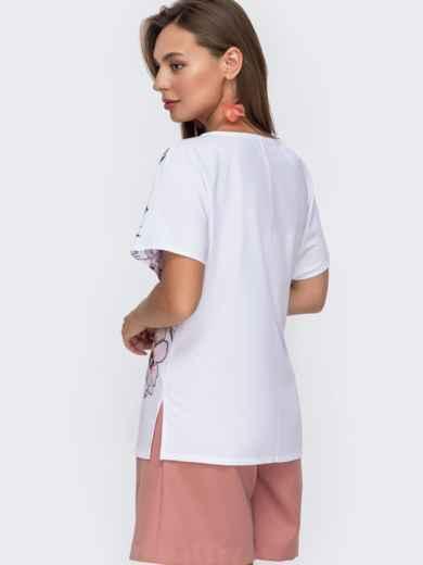 Белая блузка с цветочным принтом и разрезами по бокам 49133, фото 3