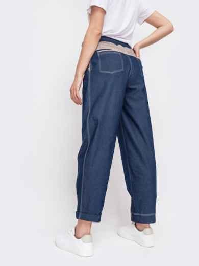 Джинсовые брюки с талией на кулиск синие 47743, фото 2