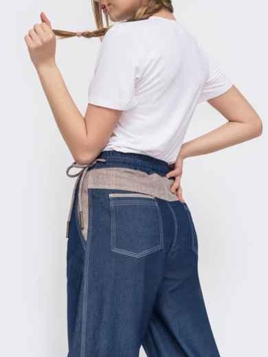 Джинсовые брюки с талией на кулиск синие 47743, фото 3