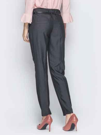 Серые брюки со стрелками и кожаным ремешком в комплекте 18865, фото 3