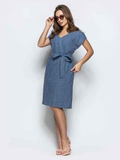 Тёмно-синее льняное платье с укороченным рукавом поясом - 21786, фото 1 – интернет-магазин Dressa