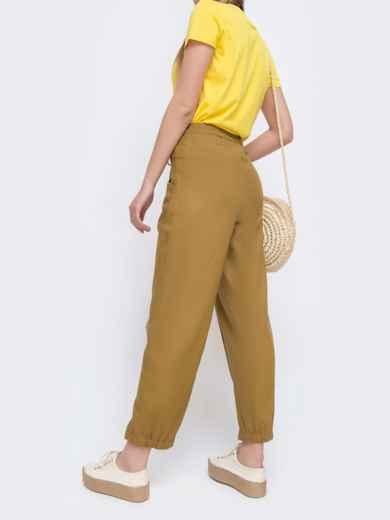 Укороченные брюки с резинкой по талии желтые 47749, фото 2