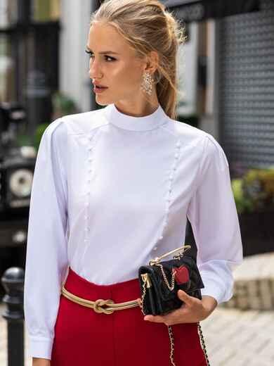 Белая блузка прямого кроя с воротником-стойкой 49853, фото 1