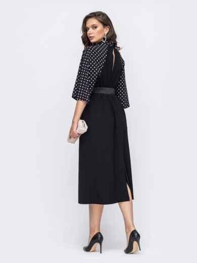 Чёрное платье батал с рукавом-реглан в горох 51526, фото 2