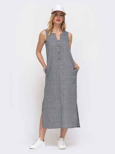 Длинное платье из льна в полоску синее 48066, фото 1
