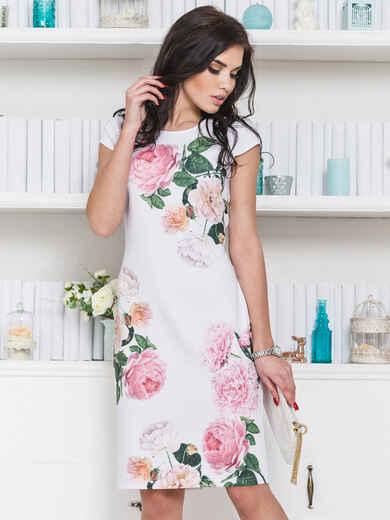 Платье приталенного силуэта с цветочным принтом 12622, фото 1