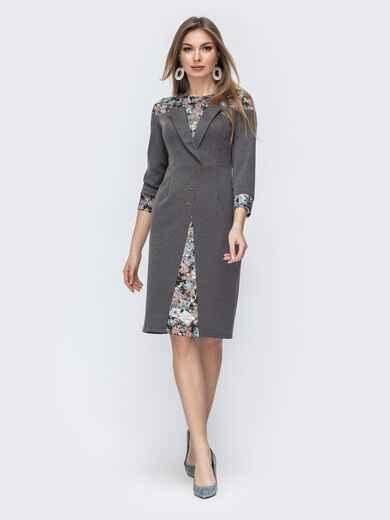 Серое платье с контрастными вставками и лацканами 45773, фото 1