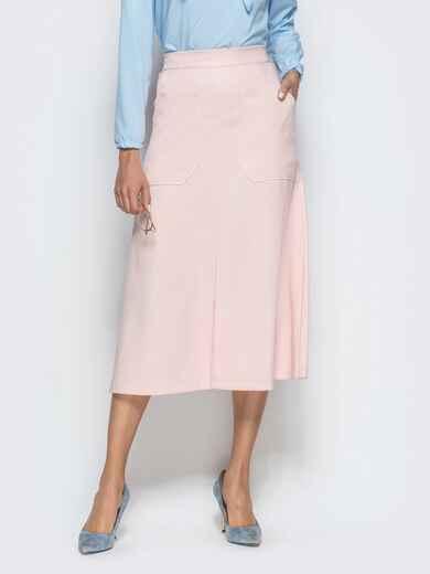 Юбка-трапеция розового цвета с накладными карманами 39810, фото 1