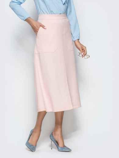 Юбка-трапеция розового цвета с накладными карманами 39810, фото 2