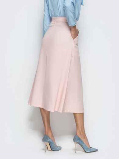Юбка-трапеция розового цвета с накладными карманами 39810, фото 3