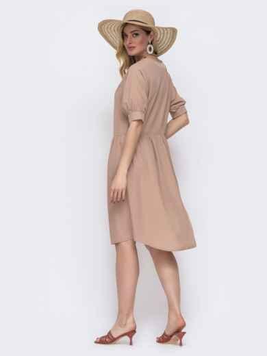 Бежевое платье свободного кроя с широкой юбкой 48582, фото 2