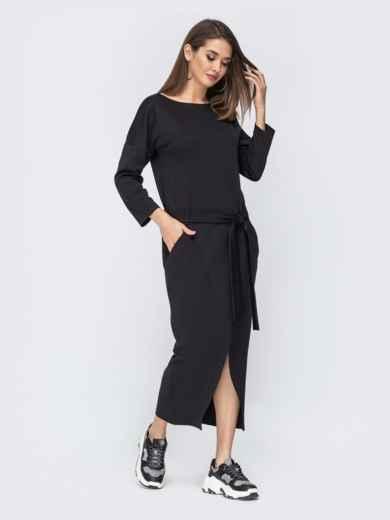 """Чёрное платье с рукавом """"летучая мышь"""" 44199, фото 2"""