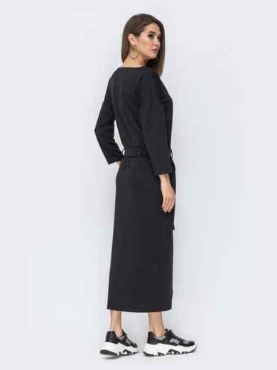"""Чёрное платье с рукавом """"летучая мышь"""" 44199, фото 3"""