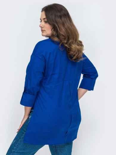 Рубашка батал свободного кроя с удлиненной спинкой синяя 47753, фото 2